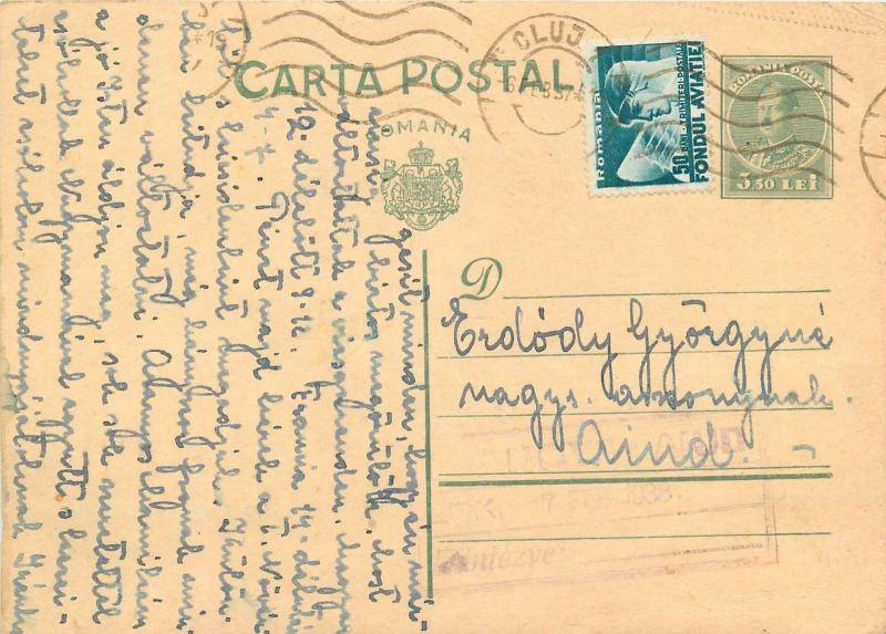 Hangya Aiud Cluj uprated postal stationery Romania king Carol II