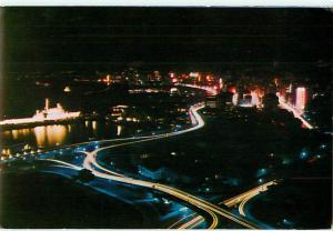 Hongkong Hilton Eagle Nest Restaurants China Night Scene Harbor Postcard  # 7525