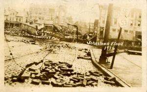 PA - Johnstown. Mar. 18,1936 Flood. Franklin St., Former site of Bridge. RPPC