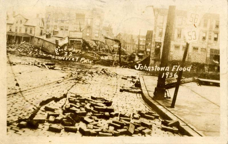PA - Johnstown. Mar. 18,1936 Flood. Franklin St., Former site of Bridge. RPPC