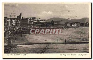 Old Postcard Saint Jean de Luz The Beach and the Casino Pyrenees