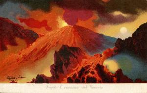 Italy -  Naples. Mt Vesuvio Eruption.  Artist: Coppola