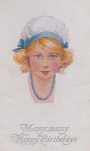 Blue Rubber Bath Hat Fashion Antique Happy Birthday Greetings Postcard