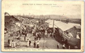 1910s Syracuse, New York Postcard General View of Midway, SYRACUSE FAIR1910s U
