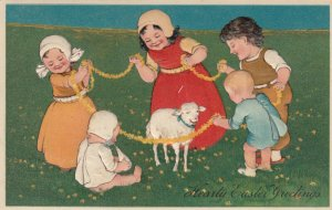 EASTER, 1900-10s; Children playing with sheep, PFB 7602