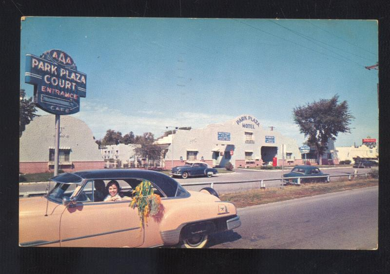 ST. LOUIS MISSOURI ROUTE 66 PARK PLAZA MOTEL 1950's CARS ADVERTISING POSCARD MO.