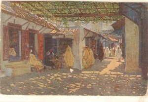 M. Mertuchi. An arab street. Calle de los Babucheros Fine painting nice Spani