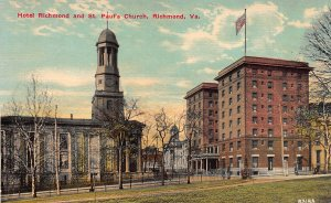 Hotel Richmond and St. Paul's Church, Richmond, Virginia, Early Postcard, Unused