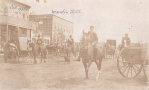 RP: MARCELIN, Saskatchewan, Canada, 1910's; Hotel And Post Office Horses/Parade