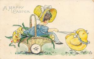 Bertha E Blodget Easter~Chicks Hitched to Basket on Wheels~Sunbonnet Girl~AMP