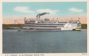 Iowa Keokuk S S President On The Mississippi Curteich