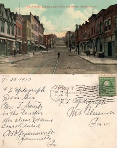 JEANNETTE PA CLAY AVENUE 1913 ANTIQUE POSTCARD