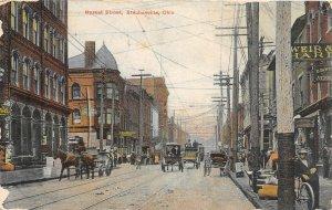 H1/ Steubenville Ohio Postcard c1910 Market Street Wagons Stores 21