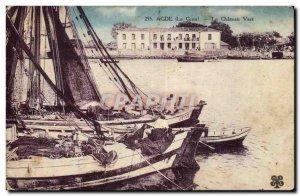 Agde Postcard Old Green Castle (boat)