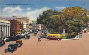 Newport Rhode Island~Washington Square~Bus~Lots of Cars~Statue on Lawn~1940s Pc