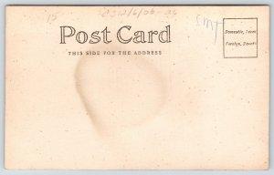 Real Photo Postcard~Vintage Barber Shop Interior~Boy Gets Hair Cut~c1905 RPPC