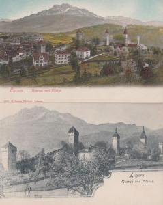 Luzern Musegg Und Pilatus Aerial 2x Old Switzerland Postcard s