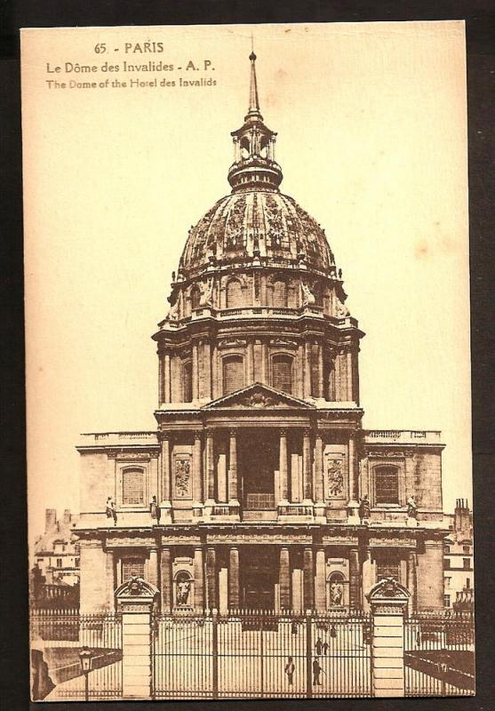 FRANCE V.OLD POSTCARD UNUSED PARIS THE DOME OF THE HOTEL DES