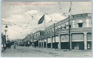 KINGSTON, JAMAICA  B.W.I.  looking North KING STREET Scene  BEE HIVE  Postcard