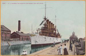 U.S. Cruiser Charleston entering Dry Dock -