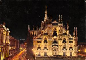 Italy Old Vintage Antique Post Card Milano by Night The Cathedral 1970