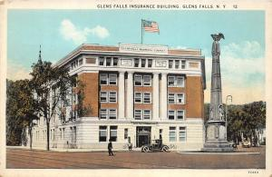 Glens Falls New York~Glens Falls Insurance Bldg~Man & Car in Street~Monument~20s