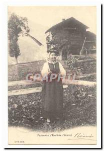 Old Postcard Peasant d & # 39Evolene (Valais cap suit folklore)
