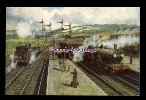 ry1678 - Trains leave & arrive at a Station. Artist - Mike Turner - postcard