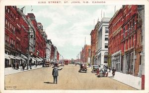 St John NB Traffic Cop on King Street~Boots, Shoes & Rubbers 1920s Postcard