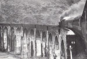 Fort William Train Crossing Glenfinnan Viaduct in 1961 Railway Postcard