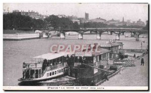 Old Postcard Paris Seine at the Pont des Arts Boat Peniche