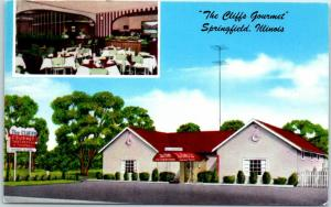 Springfield, Illinois Postcard THE CLIFFS GOURMET Restaurant Roadside c1950s