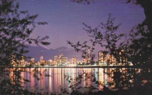The English Bay Skyline at Night,  Vancouver,  B.C.,  Canada,   40-60s