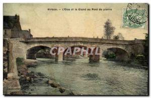 Old Postcard Hirson L & # 39Oise Gland and the stone bridge