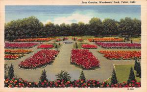 Rose Garden, Woodward Park, Tulsa, Oklahoma, early linen postcard, unused