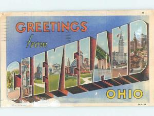 Linen BIG LETTERS Cleveland Ohio OH ho6983