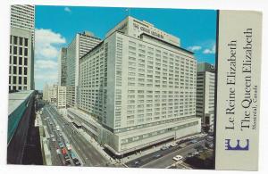 Montreal Canada Queen Elizabeth Hilton Hotel Vtg 1971 Postcard