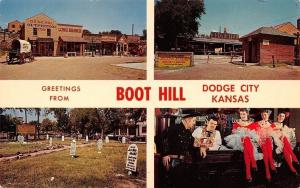 Dodge City Kansas~Boot Hill Banner Greeting~Graveyard~Town~Saloon~1960s Postcard