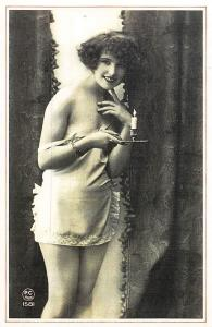 Risque Typical French, Paris, Lady woman holding candle 1920s Nostalgia Reprint