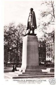 Franklin Roosevelt Statue London Real Photo Postcard