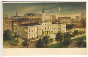 City Hall, New York NY H-T-L Hold to Light Postcard