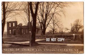 RPPC, Ruins Church & School, Orlean NY