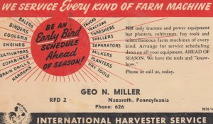 International Harvester Service , Geo. N. Miller , NAZARETH , Pennsylvania , ...