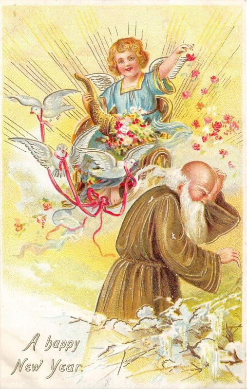 New Years Greetings~Doves~Girl Cherub Sprinkles Father Time w Flowers~c1910 TUCK