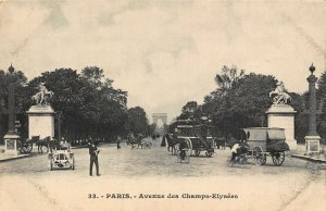 France Paris Avenue des Champs Elysees Promenade Postcard