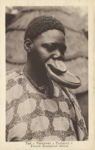 french equatorial africa, Native Woman Lip Plate, Plateaux, Scarification 1920s
