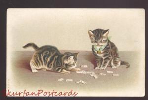PRETTY CUTE CAT CATS KITTEN KITTENS KITTY VINTAGE POSTCARD