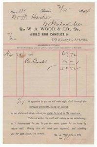 1894 Billhead, W. A. WOOD & CO., Dr., Oils & Candles,  Boston, Massachusetts