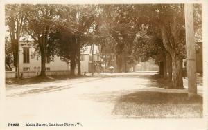 Saxtone River Vermont~Main St~Buggy w/Umbrella~Sepia Real Photo Postcard 1915