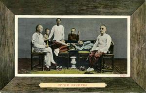 china, HONG KONG, Chinese Opium Smokers (1910s) Postcard